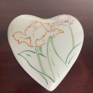 Vintage White Porcelain Heart Shaped Trinket Box